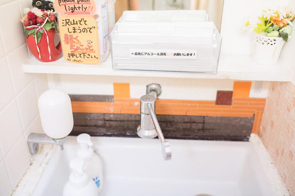 猫カフェ・ジャララの洗面台