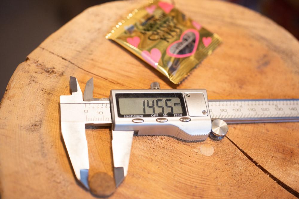 キャットフード、クリスピーキッスシリーズの粒の長さ測定
