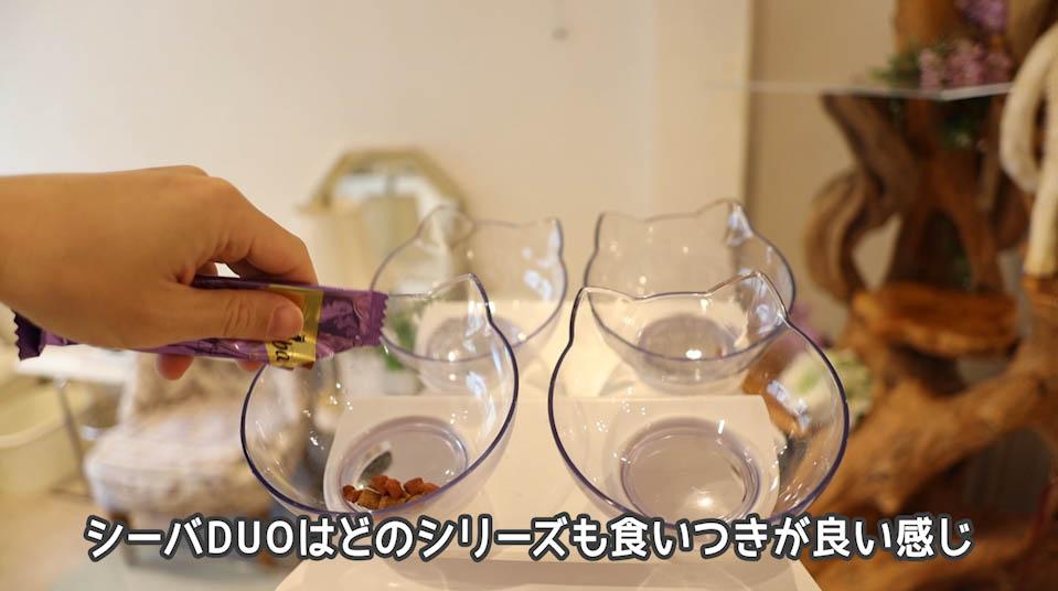 シーバDUO魚介とお肉のチーズ味セレクションをお皿に出す